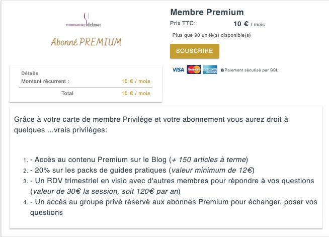 Abonnement Premium mensuel